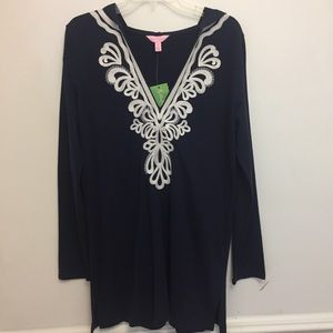 NWT Lilly Pulitzer Navy Shel Hooded Cover Up Tunic